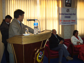 Chief Guest Honorable Member of NPC, Prof. Dr. Pushkar Man Bajracharya with his remarks